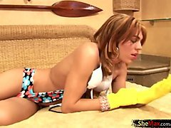 Blonde, Rubber, Gloves, Shemale, Xhamster